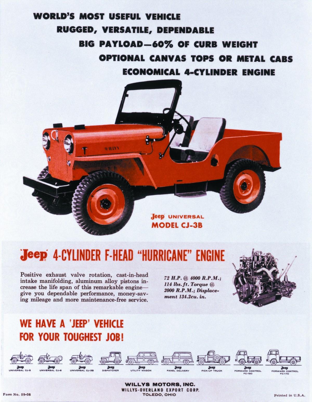 Jeep Universal CJ-3B z silnikiem Hurricane